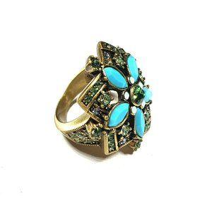 Heidi Daus Breathless Floral Ring Size 5.75 Aqua B